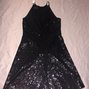 Aqua women party disco shiny Sequin Black Dress